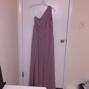 One shoulder Mauve colored gown